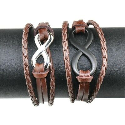 Fashion Braided Figure 8 genuine Leather Handmade Brown Adjustable Bracelet