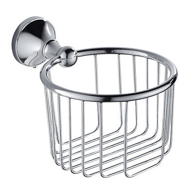 Brass Chrome Wall Mounted Wire Toilet Paper Holder Tissue Hanger Basket