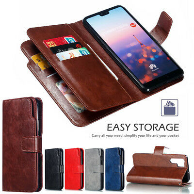 For Huawei P30 Pro P20 P10 Lite Magnetic 9 Cards Leather Flip Wallet Case Cover