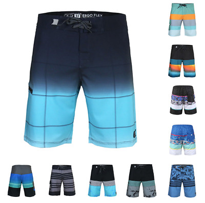 Men's Beach Vacation Fast Dry Zip Pocket Swimwear Board Shorts With Stretch