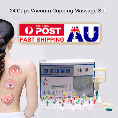 Vacuum Cupping Suction Massage Set 24 Cups Massager Kit Acupuncture Pain Relief