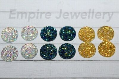 12 x Mixed Colour Textured Glitter Resin Flatback 12x12mm Cabochon Cameo