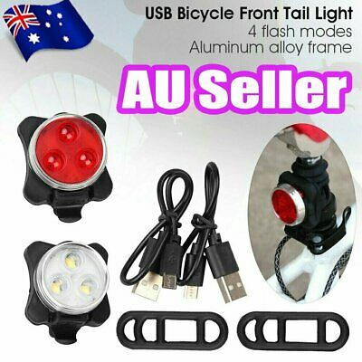 IPX4 Waterproof Bicycle Bike Light Front Rear Tail Light Lamp USB Rechargeable#