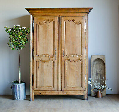 French Antique Late 18C Pippy Oak Knockdown Armoire Wardrobe with Hanging Rail