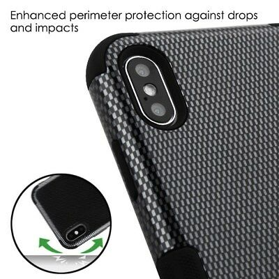 For iPhone XS Max XR Hybrid Rugged Shockproof Protective Case Cover Carbon Fiber