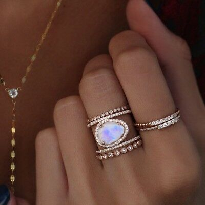 Fashion 925 Silver Moonstone Women Jewelry Proposal Party Knuckle Ring Size 5-10