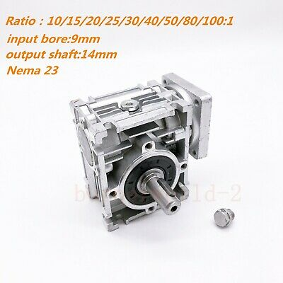 Worm Gearbox NMRV030 NEMA23 Speed Reducer Reduction 10 15 20 25 30 40 50 60 80:1