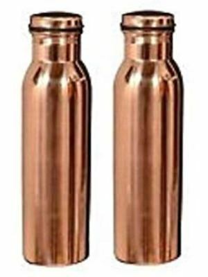 Pack Of 2 Leak Proof & Joint Free COPPER WATER BOTTLE Ayurvedic Health Benefit R