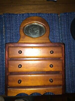 VINTAGE Antique OLD WOOD WOODEN Handmade Jewelry BOX With Mirror 3 Drawers