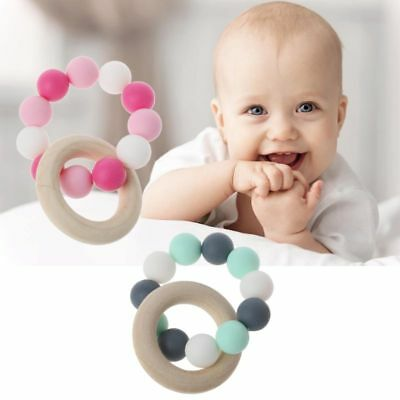 Baby Nursing Bracelets Wooden Silicone Chew Beads Teething Rattles Teether Toys