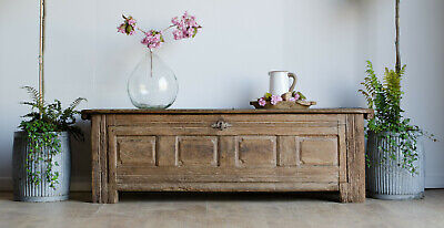 French Antique 18th Century Light Oak Trunk / Coffer / Box Bench / Coffee Table