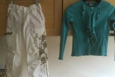 Girls Outfit Age 8 trousers top designer brands new summer designer embroidered