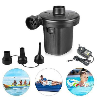 2 in1 Electric Air-Bed Pump Camping Paddling Pool Mains Plug Inflator Black