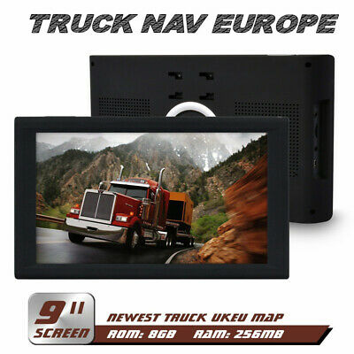 9 Inch Truck Sat Nav Lifetime UK & EU Maps 2019 GPS Navigation For HGV Lorry LGV
