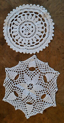 Lot De 2 Napperons Blanc Rond Au Crochet Fat Main 16Cm Ancien   Np9