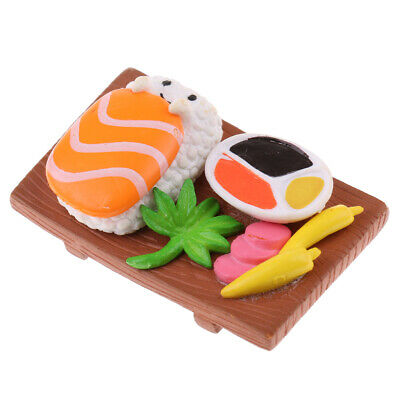 1/12th Vivid Japanese Food Salmon Sushi Dollhouse Decoration Square Plate
