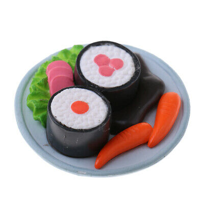 Miniature Japanese Food Rice Roll Sushi Dollhouse Kitchen 1:12 - Round Plate
