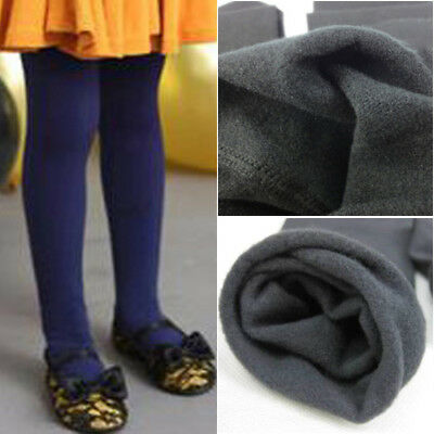 Children Girl's Thermal Thick Warm Fleece Lined Tight Leggings Pants Stockings