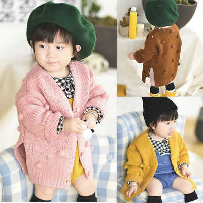 Infant Baby Kid Girl Winter Ball Hand Down Sweater Jacket Knit Tops Cardigan FO