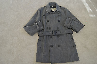 Burberry Prorsum Double Breasted Grey Wool Trench Coat Jacket Mens IT52 Large