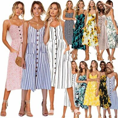 Womens Holiday Beach Dress Sling Sleeveless Sun Floral Printed Summer Boho Dress