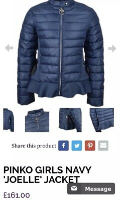 pinko Girls Coat Navy BNWT RRP £142 ‼️‼️NOW £70 ‼️‼️Size Small / Age 10