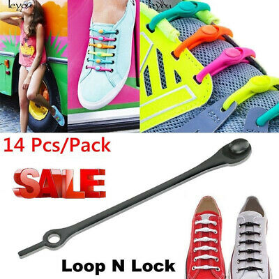 28pcs Easy Elastic Silicone Shoelaces No Tie Running Sneakers Strings Shoe Laces