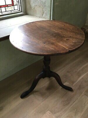 18th Century Small Oak and Elm Georgian Turned Tilt Top Round Table Occasional