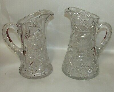 2 Antique American Cut Glass Crystal Water Pitchers