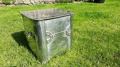 "Vintage Art Deco Style Chrome Coal Box Scuttle Bucket 4 sided Liner 16"" X 13"""
