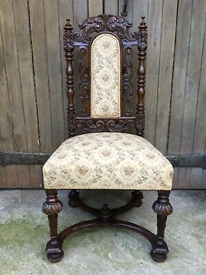 Fine Renaissance Revival Exquisite Carved Oak Library Desk Throne Flemish Chair