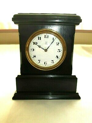 Vintage Antique Hac German Clock Crossed Arrows Mark Ebony Wood - Working Order