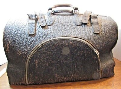 Antique Vintage Black Leather Medical Doctor  Travel Bag buckles W/accessories