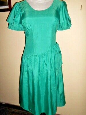 Vintage 1980s DRESS size 12 LEUON of Melbourne green evening party 80s retro