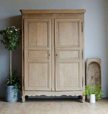 French Antique Late 18C Light Oak Knockdown Armoire Wardrobe with Hanging Rail