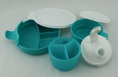 Baby Stage Feeding Set Divided Dish & Feeding Cup & Formula Dispenser Tupperware