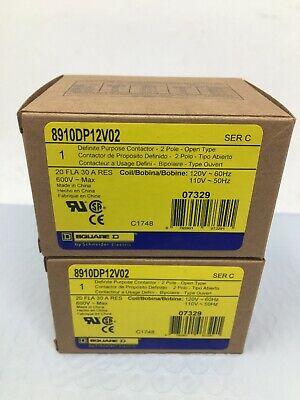 Lot Of (2) New Square D Definite Purpose Contactors 2 Pole 8910DP12V02