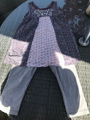 Next Girls Purple Gypsy Boho Sleeveless Lilac Tunic Top Leggings Age 11 Years