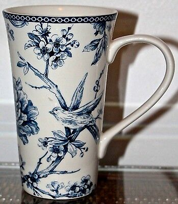 222 Fifth Adelaide Blue Latte Coffee Cup Tall 16 Oz New Porcelain Bird Floral