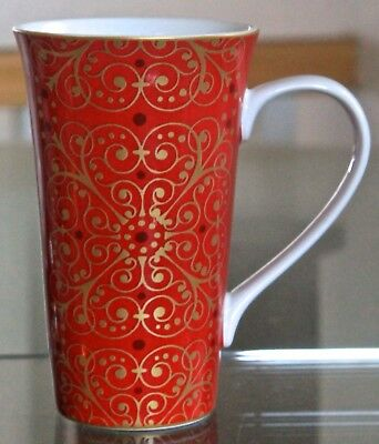 222 Fifth Madrid Red Mug Latte Coffee Cup Tall 16 Oz New Porcelain