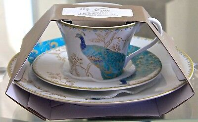 222 Fifth Peacock Garden Tea Cup Saucer Salad Plate Set New Porcelain Teal Gold