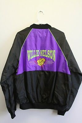 89a1a2b15aca2 Vintage Willie Nelson Multicolor Bomber Jacket Sz XL Made In USA 80s EUC
