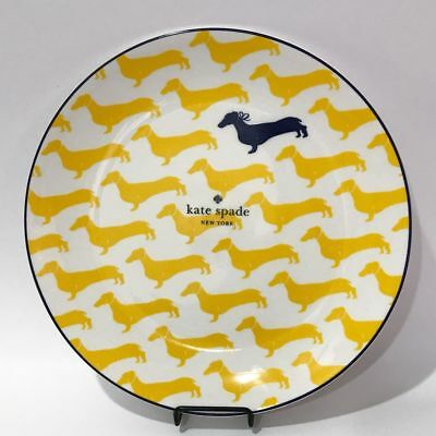 Kate Spade by Lenox Wickford Dachshund Accent Plates Set/4 NWT Yellow China Dogs