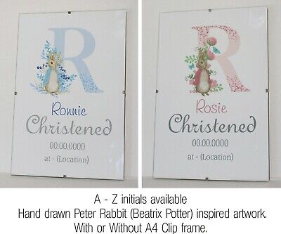 Peter Rabbit/Beatrix Potter inspired, Initial Christening Gift, Personalised A4