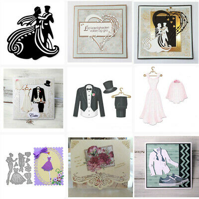 Bride Groom Wedding Dress Metal Cutting Dies Scrapbook Embossing Card Crafts DIY