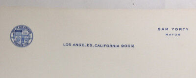 Los Angeles City Hall Letterhead Memo Stationery Unused 5 Sheets 1960s Sam Yorty