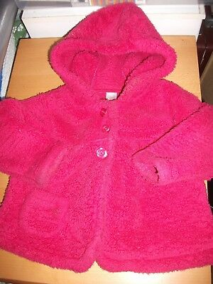 Next Girls Deep Red Hooded Fleece Coat Age 12-18 Months
