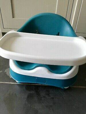 VGC Mamas and Papas snug booster seat & feed play tray high chair baby bud TEAL