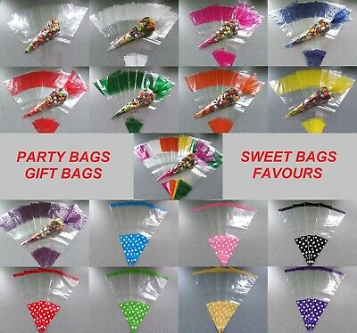 LARGE PARTY CONE BAGS - Sweet Bags, Cellophane Bags, Gift Bags, Wedding Favours