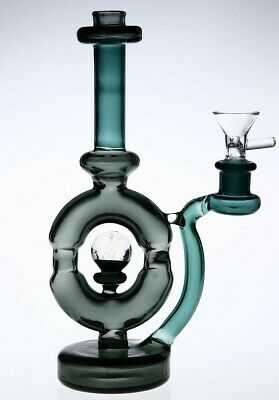 "8.5"" Black Green Gold Bubbler Glass Bong Perk Water Pipe Hookah Clear Herb Smoke"